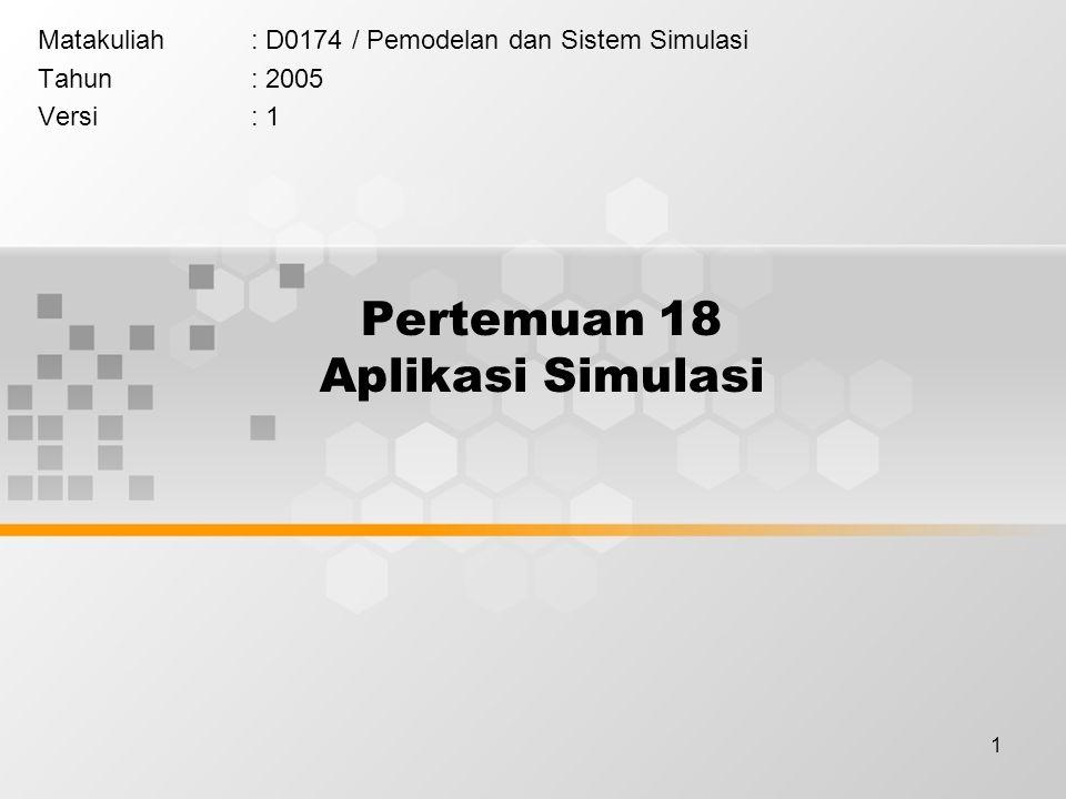 1 Pertemuan 18 Aplikasi Simulasi Matakuliah: D0174 / Pemodelan dan Sistem Simulasi Tahun: 2005 Versi: 1