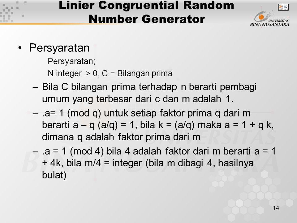 14 Linier Congruential Random Number Generator Persyaratan Persyaratan; N integer > 0, C = Bilangan prima –Bila C bilangan prima terhadap n berarti pembagi umum yang terbesar dari c dan m adalah 1.