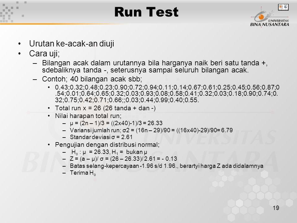 19 Run Test Urutan ke-acak-an diuji Cara uji; –Bilangan acak dalam urutannya bila harganya naik beri satu tanda +, sdebaliknya tanda -, seterusnya sampai seluruh bilangan acak.
