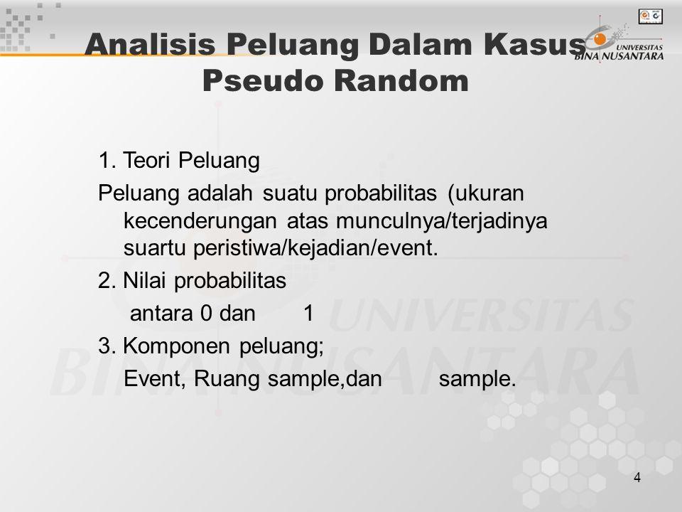 4 Analisis Peluang Dalam Kasus Pseudo Random 1. Teori Peluang Peluang adalah suatu probabilitas (ukuran kecenderungan atas munculnya/terjadinya suartu