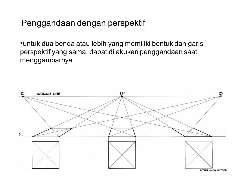 Penggandaan dengan perspektif untuk dua benda atau lebih yang memiliki bentuk dan garis perspektif yang sama, dapat dilakukan penggandaan saat menggambarnya.