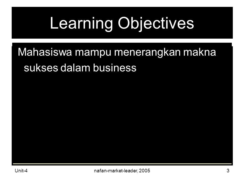 Unit-4nafan-market-leader, 20053 Learning Objectives Mahasiswa mampu menerangkan makna sukses dalam business