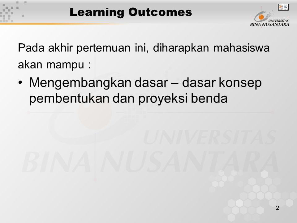 2 Learning Outcomes Pada akhir pertemuan ini, diharapkan mahasiswa akan mampu : Mengembangkan dasar – dasar konsep pembentukan dan proyeksi benda