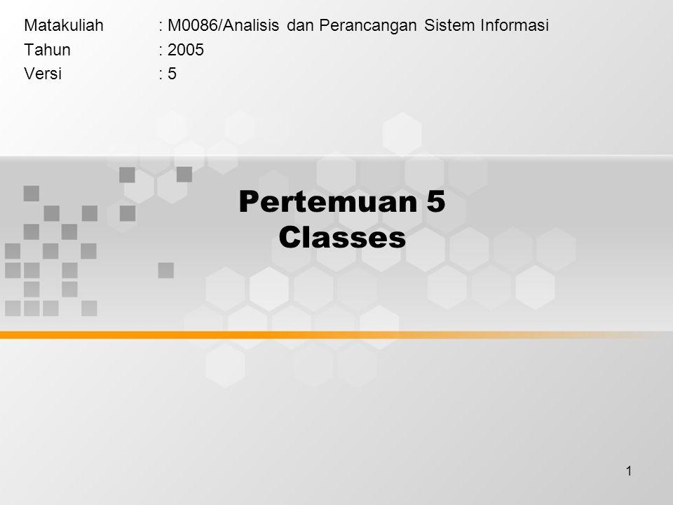 1 Pertemuan 5 Classes Matakuliah: M0086/Analisis dan Perancangan Sistem Informasi Tahun: 2005 Versi: 5