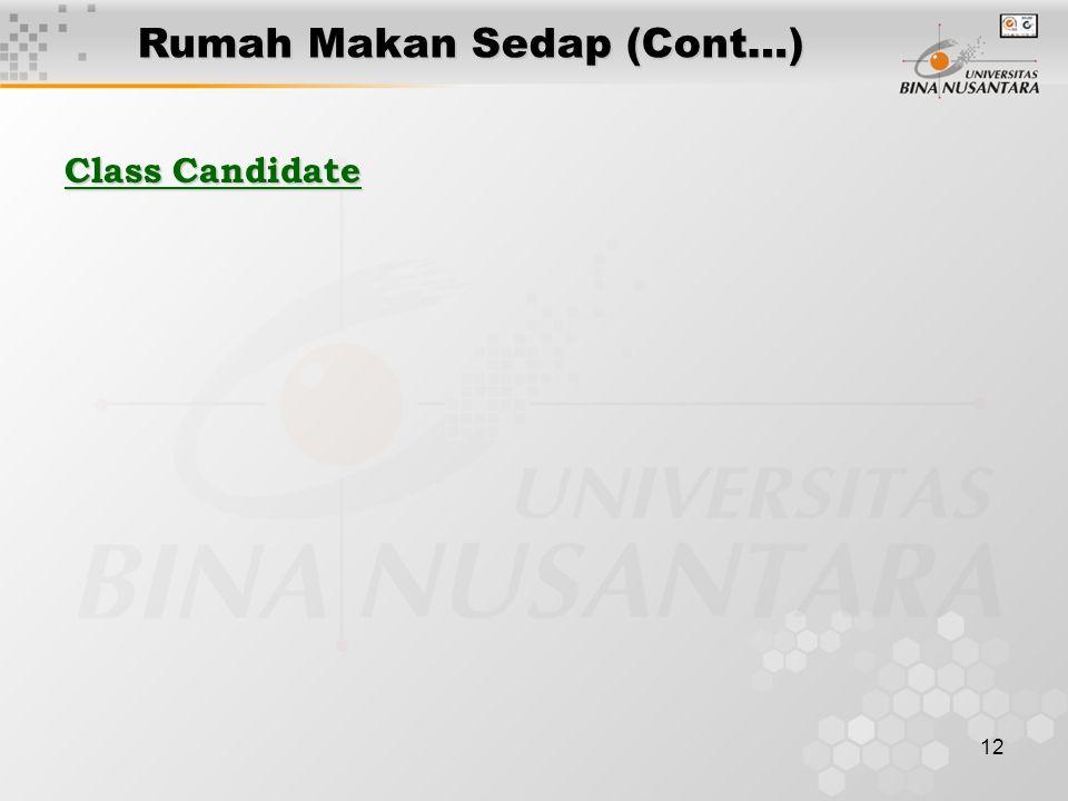 12 Class Candidate Rumah Makan Sedap (Cont…)