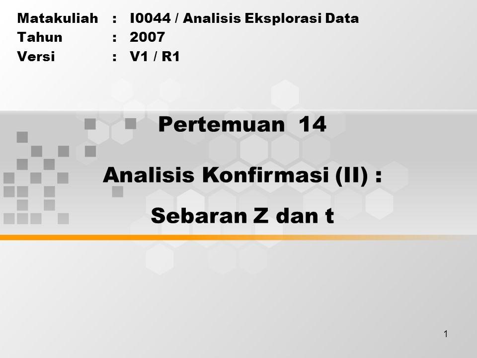 1 Pertemuan 14 Matakuliah: I0044 / Analisis Eksplorasi Data Tahun: 2007 Versi: V1 / R1 Analisis Konfirmasi (II) : Sebaran Z dan t