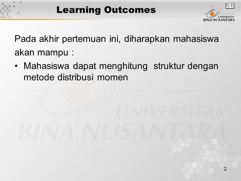 2 Learning Outcomes Pada akhir pertemuan ini, diharapkan mahasiswa akan mampu : Mahasiswa dapat menghitung struktur dengan metode distribusi momen