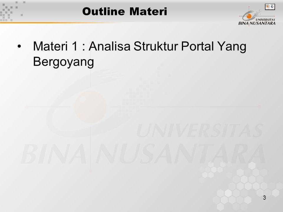 3 Outline Materi Materi 1 : Analisa Struktur Portal Yang Bergoyang