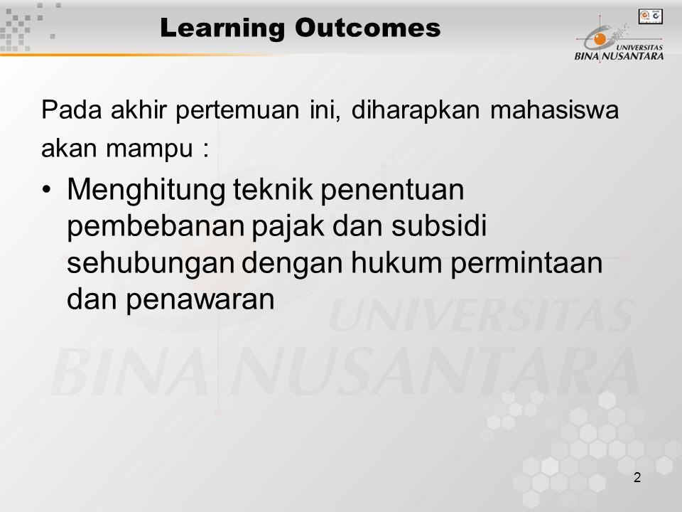 2 Learning Outcomes Pada akhir pertemuan ini, diharapkan mahasiswa akan mampu : Menghitung teknik penentuan pembebanan pajak dan subsidi sehubungan dengan hukum permintaan dan penawaran