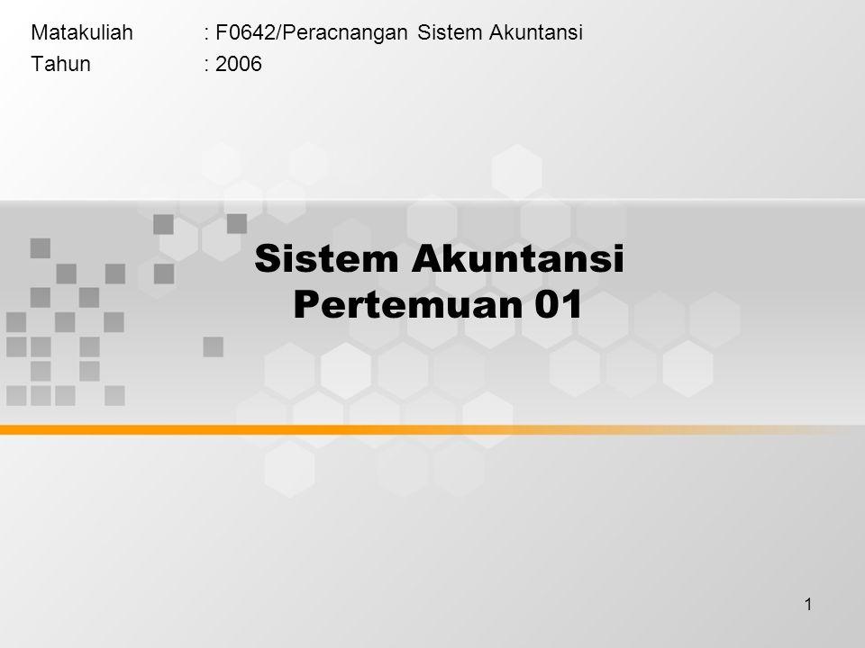 1 Sistem Akuntansi Pertemuan 01 Matakuliah: F0642/Peracnangan Sistem Akuntansi Tahun: 2006