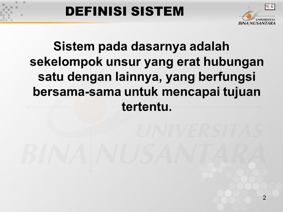 2 DEFINISI SISTEM Sistem pada dasarnya adalah sekelompok unsur yang erat hubungan satu dengan lainnya, yang berfungsi bersama-sama untuk mencapai tujuan tertentu.