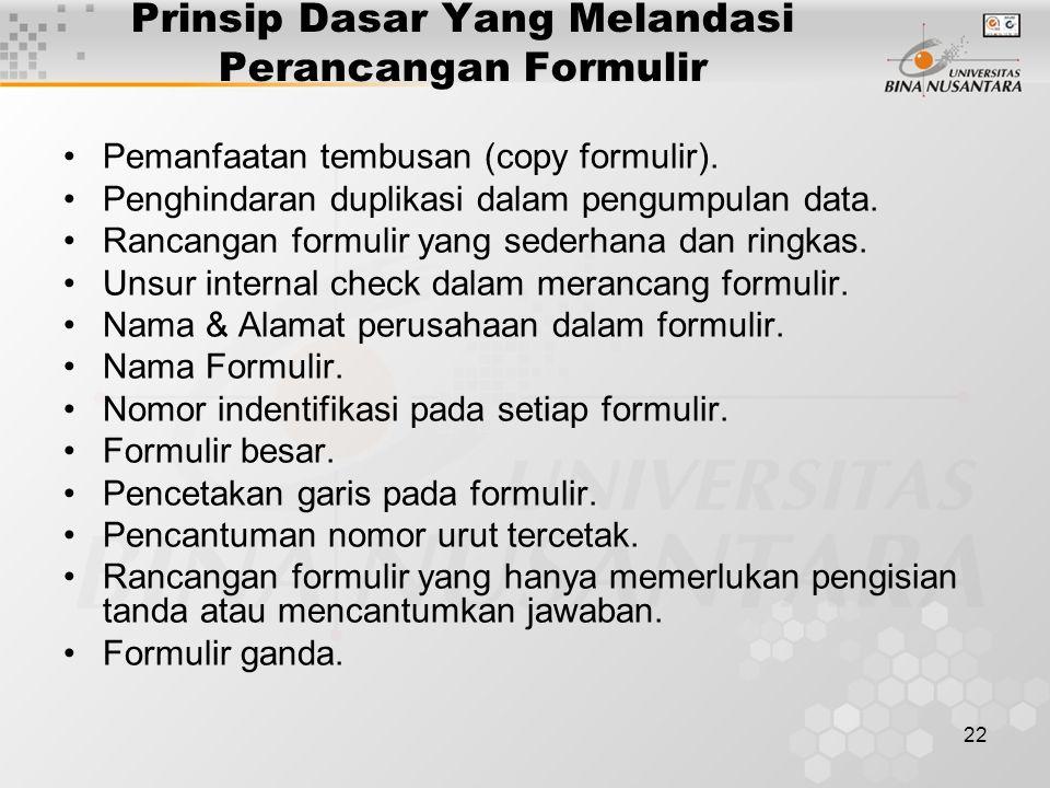 22 Prinsip Dasar Yang Melandasi Perancangan Formulir Pemanfaatan tembusan (copy formulir).