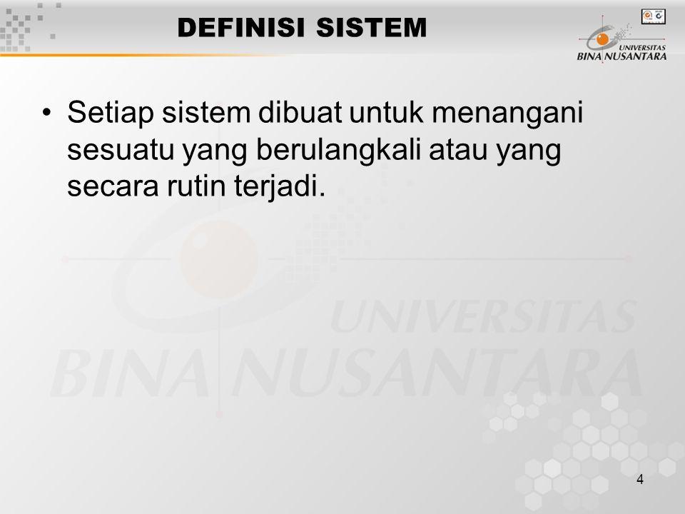 4 DEFINISI SISTEM Setiap sistem dibuat untuk menangani sesuatu yang berulangkali atau yang secara rutin terjadi.