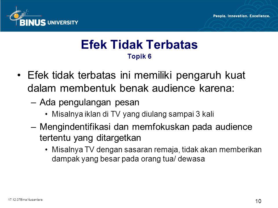 17.12.07Bina Nusantara 9 Efek Tidak Terbatas Topik 6 Didasarkan pada teori atau model peluru (bullet) atau jarum suntik (hypodermic needle) Dalam hal
