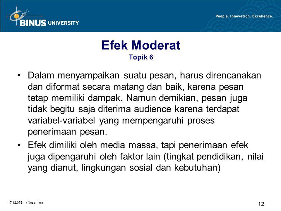 17.12.07Bina Nusantara 11 Efek Terbatas Topik 6 Diperkenalkan oleh Joseph Klaper Penyebab terjadinya efek terbatas: –Rendahnya terpaan media massa Pih