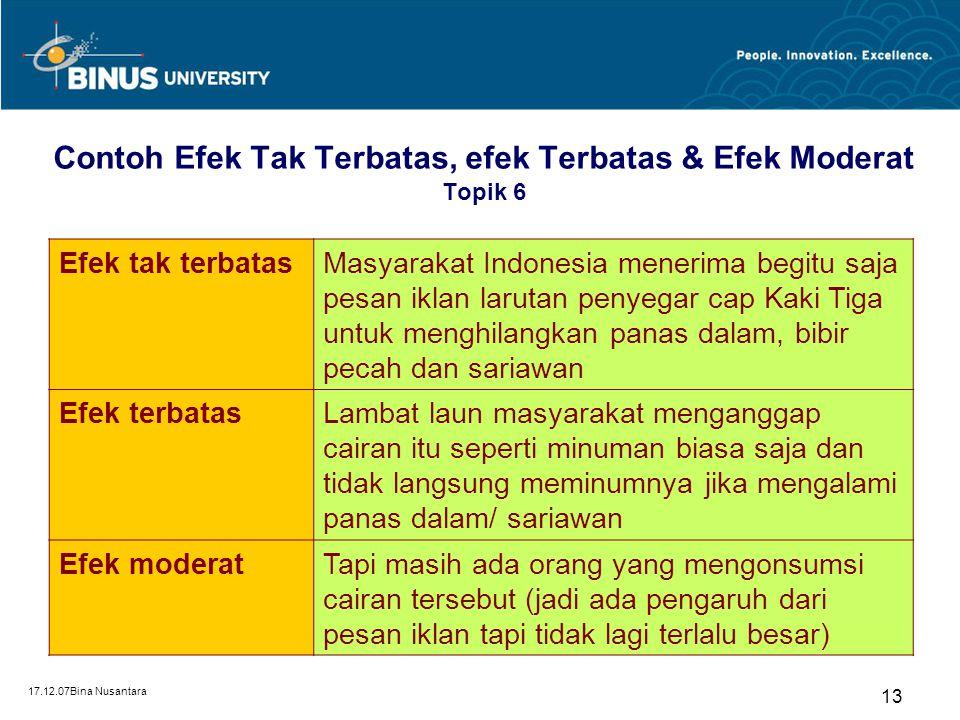 17.12.07Bina Nusantara 12 Efek Moderat Topik 6 Dalam menyampaikan suatu pesan, harus direncanakan dan diformat secara matang dan baik, karena pesan te