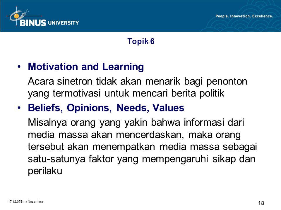 17.12.07Bina Nusantara 17 Selective Attention, Perception, Retention Topik 6 Selective Attention Seseorang cenderung memperhatikan dan menerima pesan