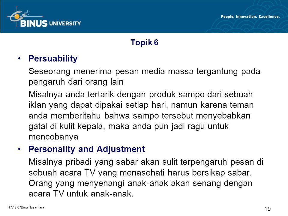 17.12.07Bina Nusantara 18 Topik 6 Motivation and Learning Acara sinetron tidak akan menarik bagi penonton yang termotivasi untuk mencari berita politi