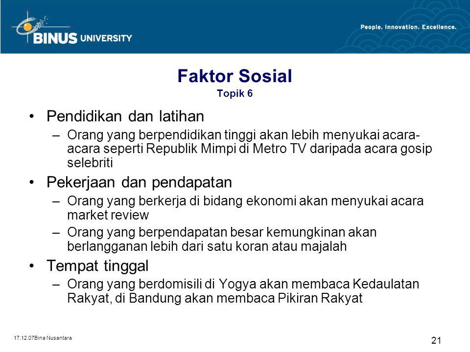 17.12.07Bina Nusantara 20 Umur dan jenis kelamin Faktor Sosial (Nurudin, 2007:234) Pendidikan dan latihan Pekerjaan dan pendapatan Tempat tinggal Agam