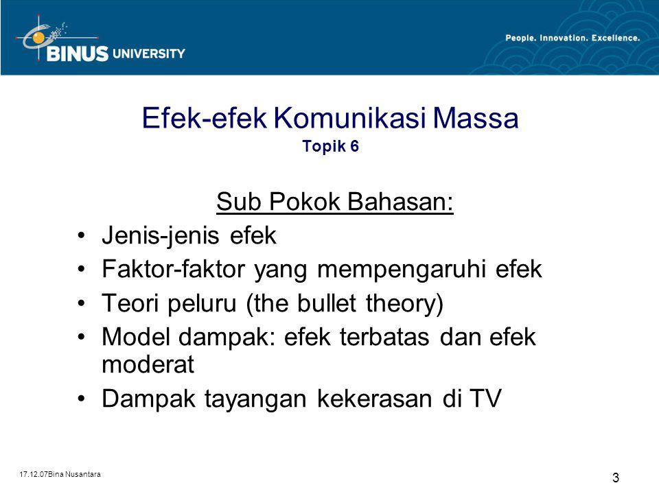 Efek-efek Komunikasi Massa Pertemuan 6 Matakuliah: O0104/ Teori Komunikasi Tahun : 2007