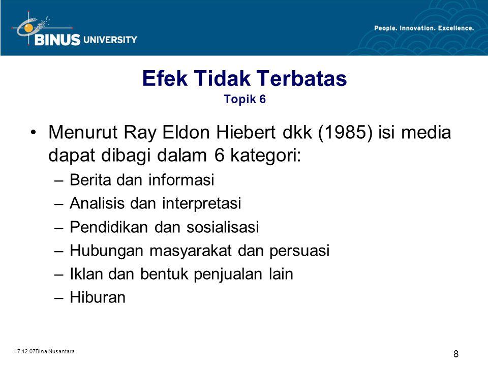 17.12.07Bina Nusantara 7 Teori-teori Efek Topik 6 Efek tak terbatas (unlimited effect) 1930 - 1950 Teori-teori efek (Keith R. Stamm & John E. Bowes, 1