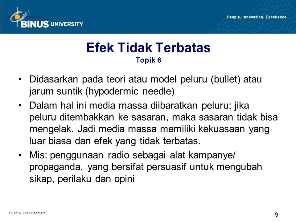 17.12.07Bina Nusantara 8 Efek Tidak Terbatas Topik 6 Menurut Ray Eldon Hiebert dkk (1985) isi media dapat dibagi dalam 6 kategori: –Berita dan informa