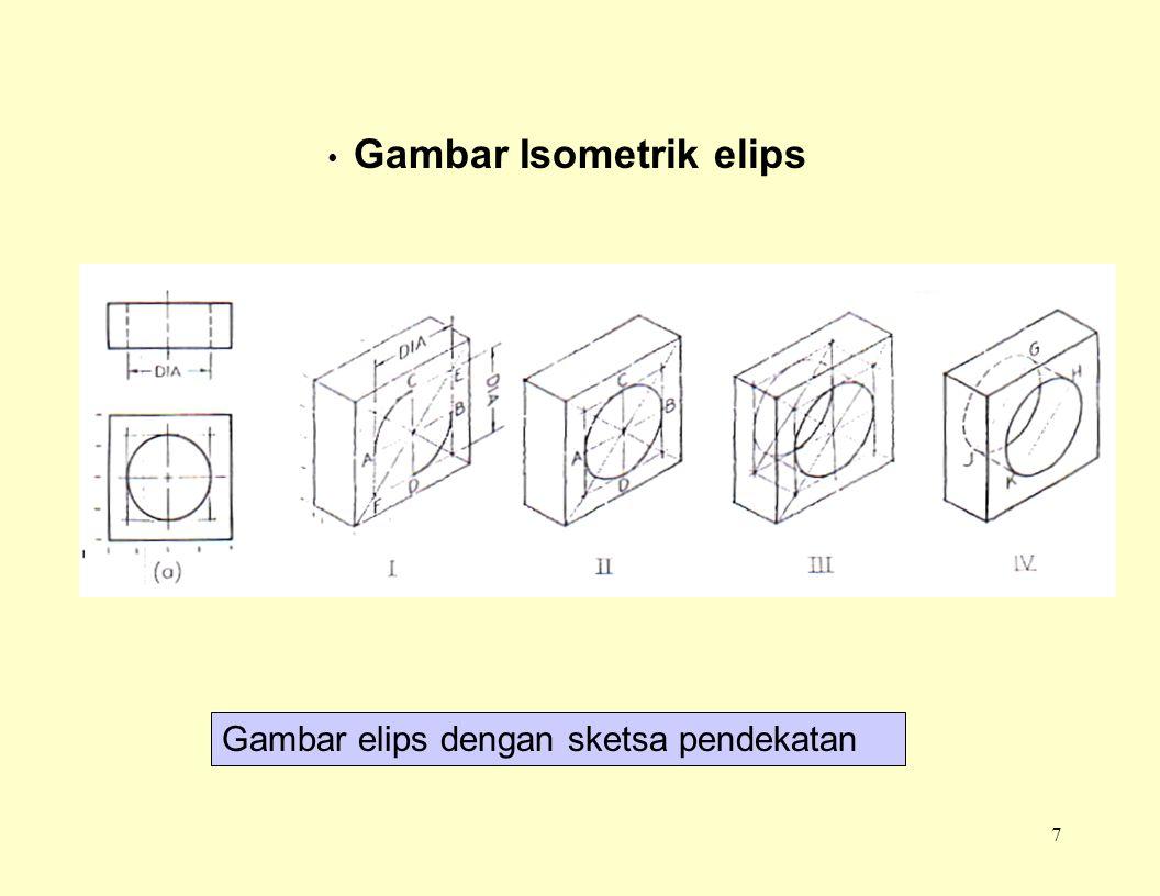7 Gambar Isometrik elips Gambar elips dengan sketsa pendekatan