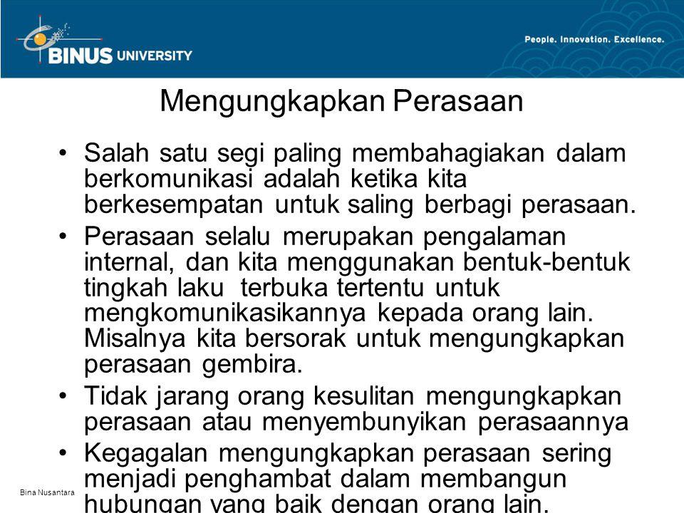 Bina Nusantara Mengungkapkan Perasaan Salah satu segi paling membahagiakan dalam berkomunikasi adalah ketika kita berkesempatan untuk saling berbagi p