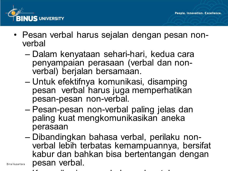 Bina Nusantara Pesan verbal harus sejalan dengan pesan non- verbal –Dalam kenyataan sehari-hari, kedua cara penyampaian perasaan (verbal dan non- verbal) berjalan bersamaan.