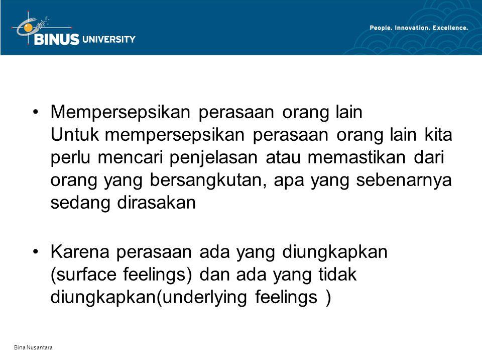 Bina Nusantara Mempersepsikan perasaan orang lain Untuk mempersepsikan perasaan orang lain kita perlu mencari penjelasan atau memastikan dari orang yang bersangkutan, apa yang sebenarnya sedang dirasakan Karena perasaan ada yang diungkapkan (surface feelings) dan ada yang tidak diungkapkan(underlying feelings )