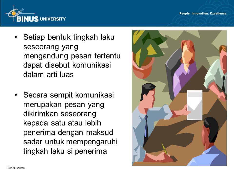 Bina Nusantara Setiap bentuk tingkah laku seseorang yang mengandung pesan tertentu dapat disebut komunikasi dalam arti luas Secara sempit komunikasi m