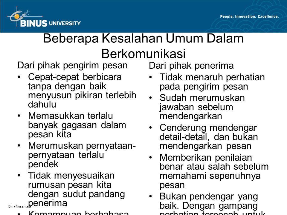 Bina Nusantara Beberapa Kesalahan Umum Dalam Berkomunikasi Dari pihak pengirim pesan Cepat-cepat berbicara tanpa dengan baik menyusun pikiran terlebih