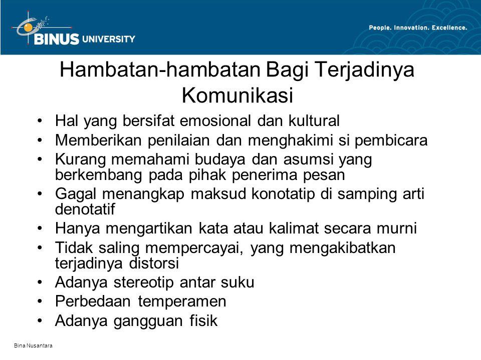 Bina Nusantara Hambatan-hambatan Bagi Terjadinya Komunikasi Hal yang bersifat emosional dan kultural Memberikan penilaian dan menghakimi si pembicara