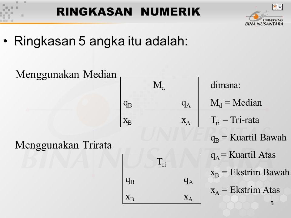 5 RINGKASAN NUMERIK Ringkasan 5 angka itu adalah: Menggunakan Median Menggunakan Trirata MdqBqAxBxAMdqBqAxBxA T ri q B q A x B x A dimana: M d = Media
