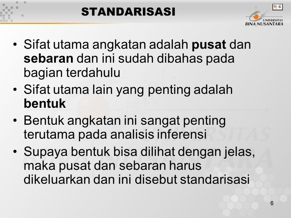 6 STANDARISASI Sifat utama angkatan adalah pusat dan sebaran dan ini sudah dibahas pada bagian terdahulu Sifat utama lain yang penting adalah bentuk B