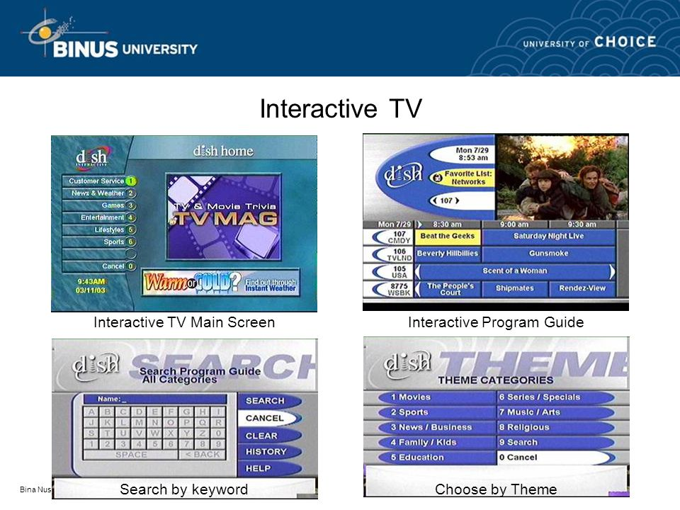 Bina Nusantara Interactive TV Interactive TV Main ScreenInteractive Program Guide Search by keywordChoose by Theme