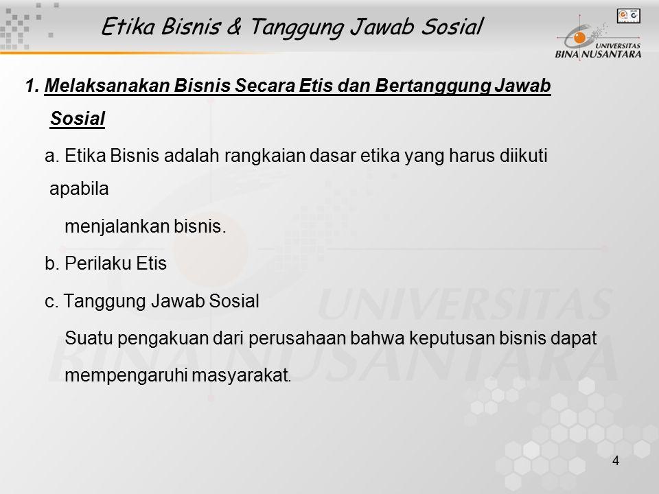 5 Etika Bisnis & Tanggung Jawab Sosial 2.Area Tanggung Jawab Sosial a.