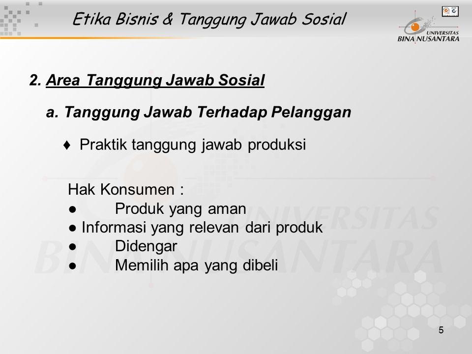 5 Etika Bisnis & Tanggung Jawab Sosial 2. Area Tanggung Jawab Sosial a. Tanggung Jawab Terhadap Pelanggan  ♦ Praktik tanggung jawab produksi Hak Kons