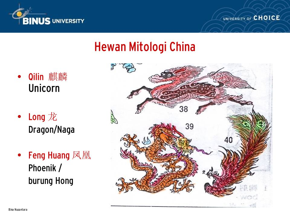 Bina Nusantara Hewan Mitologi China Qilin 麒麟 Unicorn Long 龙 Dragon/Naga Feng Huang 凤凰 Phoenik / burung Hong