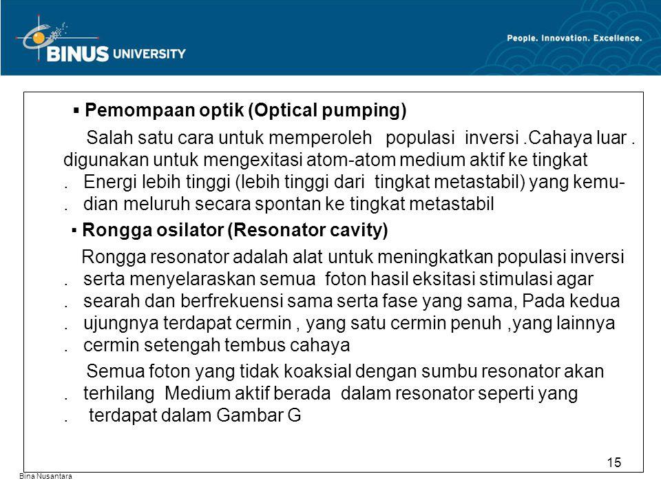 Bina Nusantara ▪ Pemompaan optik (Optical pumping) Salah satu cara untuk memperoleh populasi inversi.Cahaya luar. digunakan untuk mengexitasi atom-ato