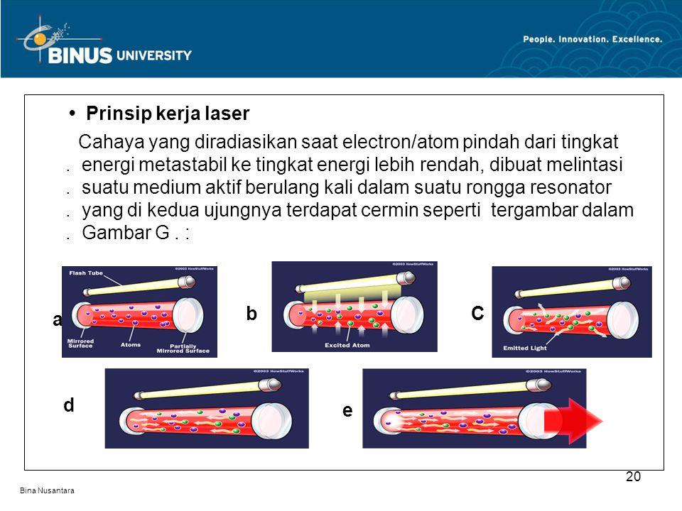 Bina Nusantara Prinsip kerja laser Cahaya yang diradiasikan saat electron/atom pindah dari tingkat. energi metastabil ke tingkat energi lebih rendah,