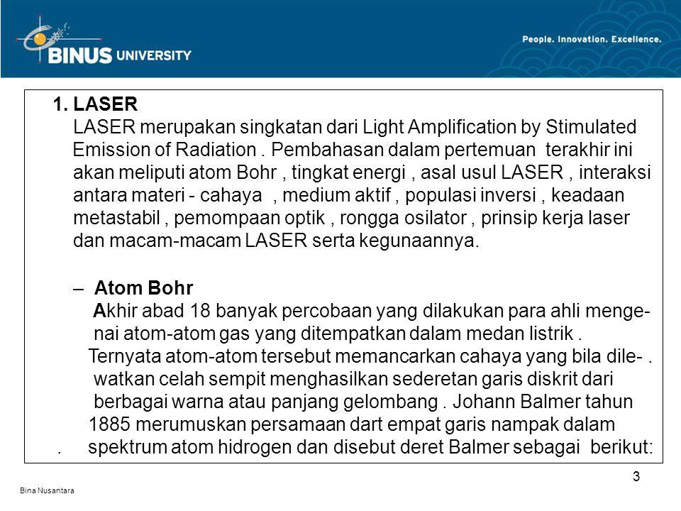 Bina Nusantara 3 1. LASER. LASER merupakan singkatan dari Light Amplification by Stimulated.. Emission of Radiation. Pembahasan dalam pertemuan terakh