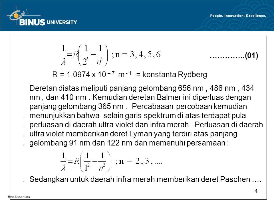 Bina Nusantara 4 …………..(01) R = 1.0974 x 10 – 7 m - 1 = konstanta Rydberg Deretan diatas meliputi panjang gelombang 656 nm, 486 nm, 434. nm, dan 410 n