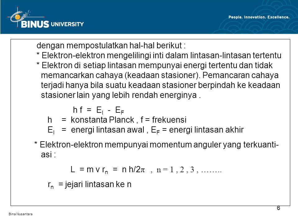 Bina Nusantara 6 dengan mempostulatkan hal-hal berikut :. * Elektron-elektron mengelilingi inti dalam lintasan-lintasan tertentu. * Elektron di setiap