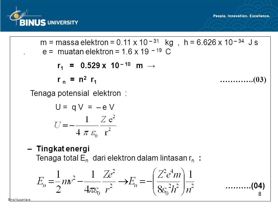 Bina Nusantara 8 m = massa elektron = 0.11 x 10 – 31 kg, h = 6.626 x 10 – 34 J s. e = muatan elektron = 1.6 x 19 – 19 C r 1 = 0.529 x 10 – 10 m → r n