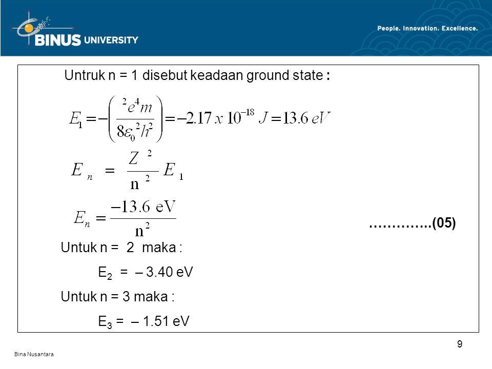 Bina Nusantara 9 Untruk n = 1 disebut keadaan ground state : …………..(05) Untuk n = 2 maka : E 2 = – 3.40 eV Untuk n = 3 maka : E 3 = – 1.51 eV