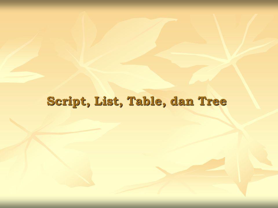 Script, List, Table, dan Tree