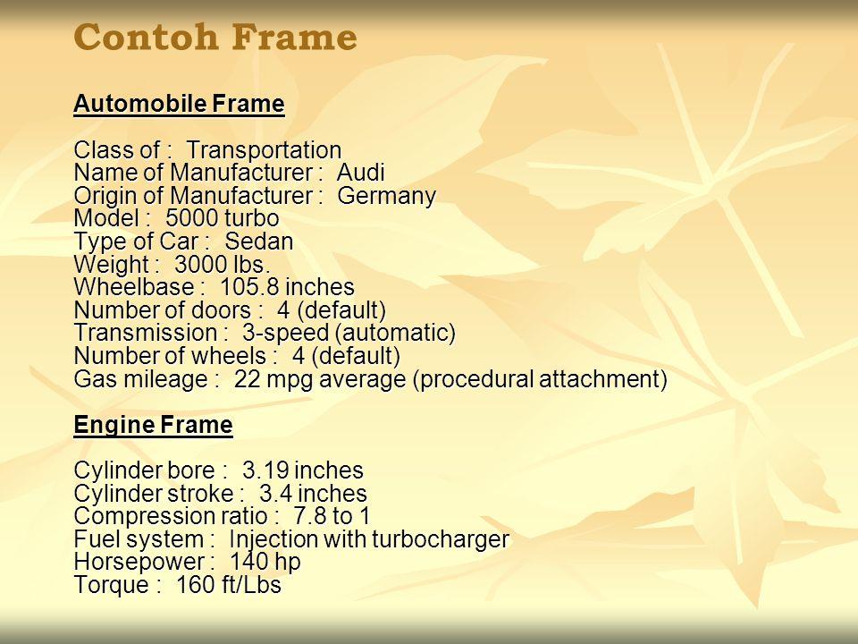 Contoh Frame Automobile Frame Class of : Transportation Name of Manufacturer : Audi Origin of Manufacturer : Germany Model : 5000 turbo Type of Car :