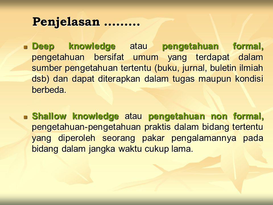 Penjelasan ……… Deep knowledge atau pengetahuan formal, pengetahuan bersifat umum yang terdapat dalam sumber pengetahuan tertentu (buku, jurnal, buleti