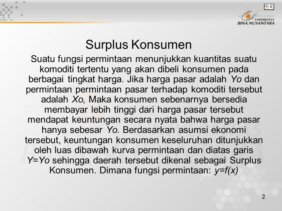 2 Surplus Konsumen Suatu fungsi permintaan menunjukkan kuantitas suatu komoditi tertentu yang akan dibeli konsumen pada berbagai tingkat harga. Jika h